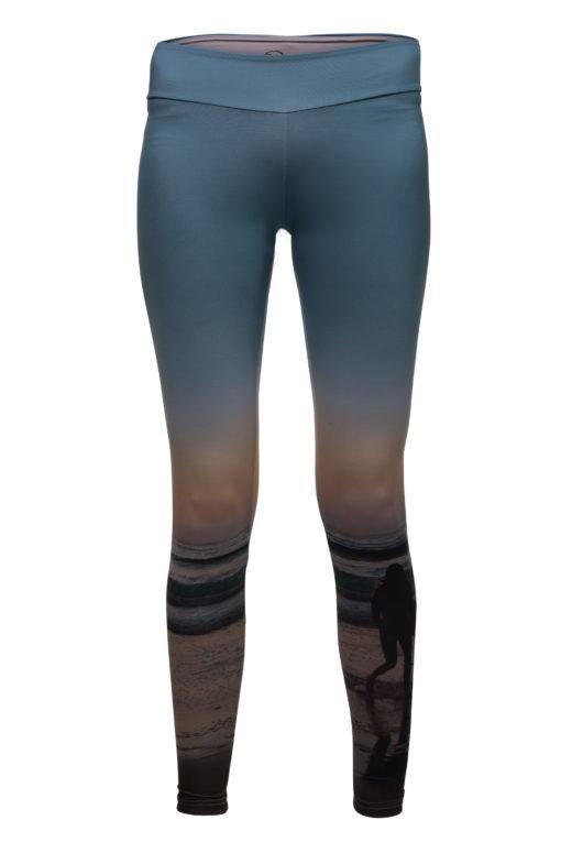 Leggings mit Abbild einer surferin auf dem linken Bein